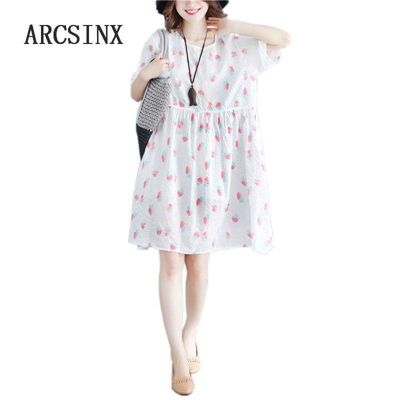 best authentic b281b 02159 ARCSINX Kawaii Damen Kleid Plus Größe 4XL 3XL XXL Print Strawberry  Sommerkleid Frauen Kurzarm Weiß Kleider Und Sommerkleider