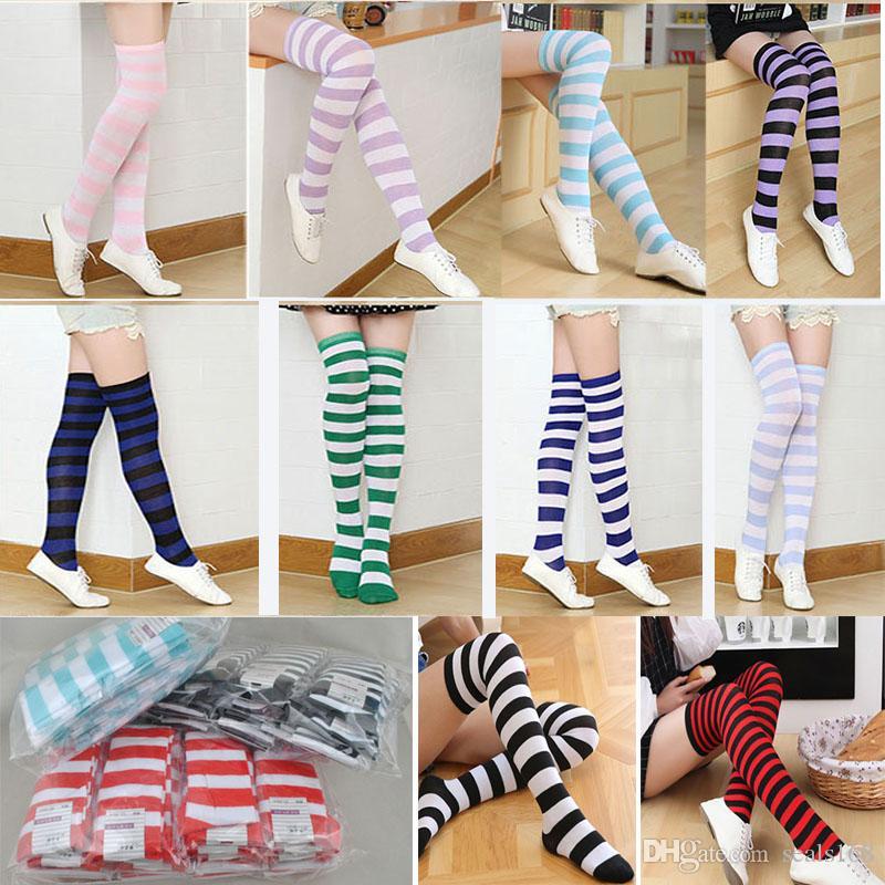 Großhandel Lange Tube Striped Socken Frauen Mädchen Sexy Baumwolle ...