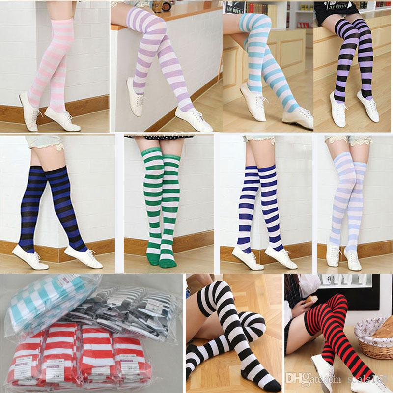 c633dfecabd Long Tube Striped Socks Women Girls Sexy Cotton Stripes Knees High Socks  Festive Party Supplies Christmas Socks Free DHL HH7 1456 Outdoor Holiday ...