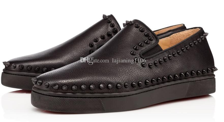 Último Diseñador Red Bottom Sneakers Casual Shoes Hombres Mujeres Negro Lows Spikes Pisos Loafers Pik Boat Genuine Leather Design Hombre Mujer Zapatos
