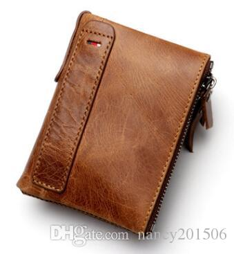0c4adf70529d 2018 New Genuine Leather Mens Wallet Man Zipper Short Coin Purse Brand Male  Cowhide Credit Id Wallet Multifunction Small Wallets Green Wallet Cell  Phone ...