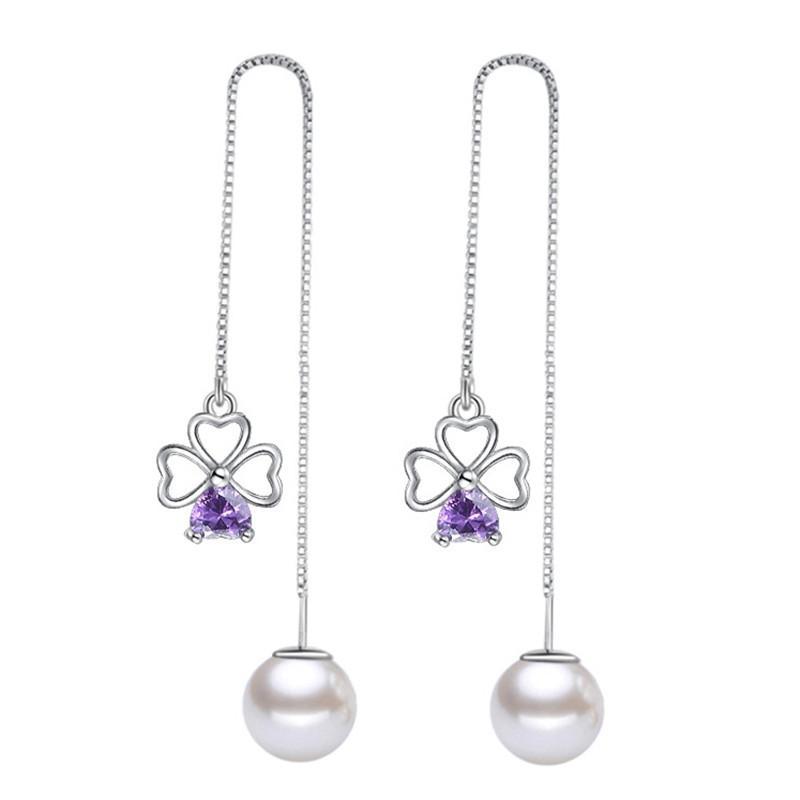 1f103c5fc Heart Purple Cubic Zirconia Drop Earrings Fashion Jewelry Long Chain ...