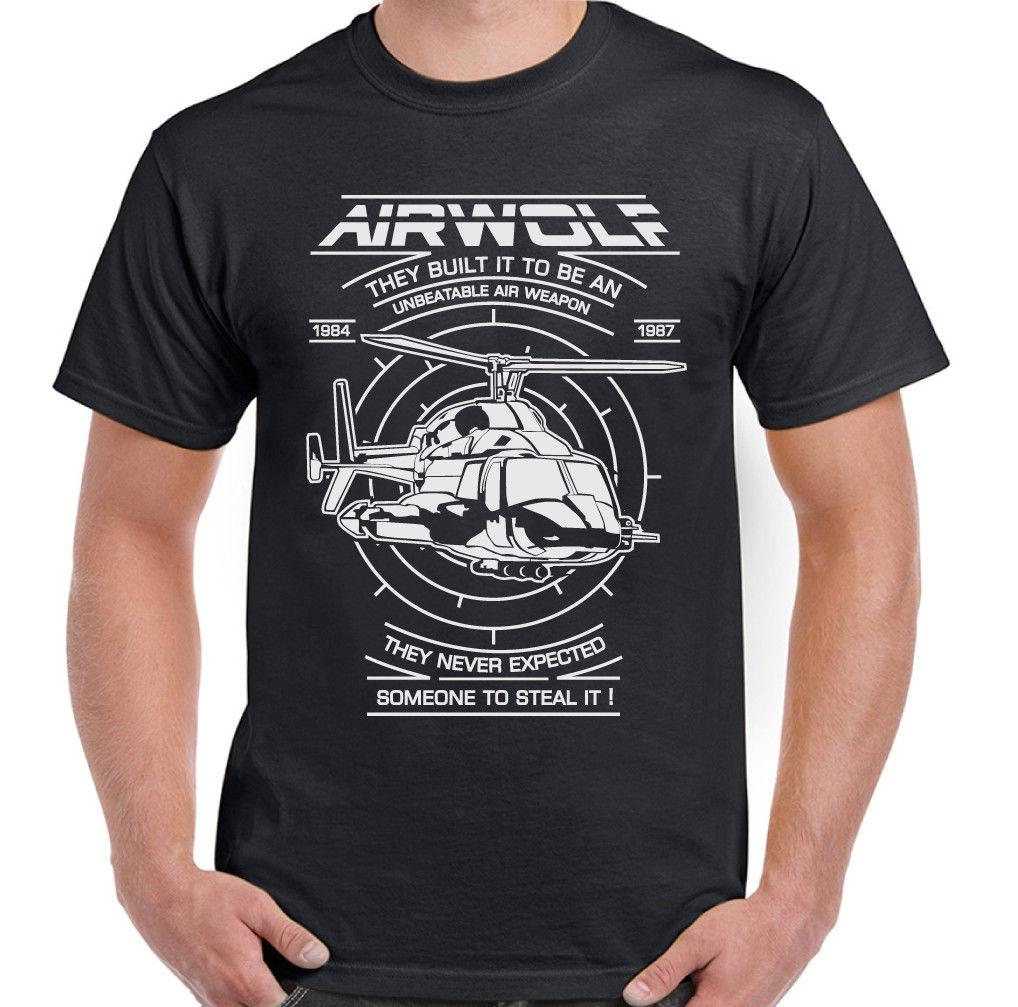 Airwolf Mens 80's Retro TV Programme T-Shirt Helicopter Drama Show Chopper Funny free shipping Unisex Casual tshirt gift