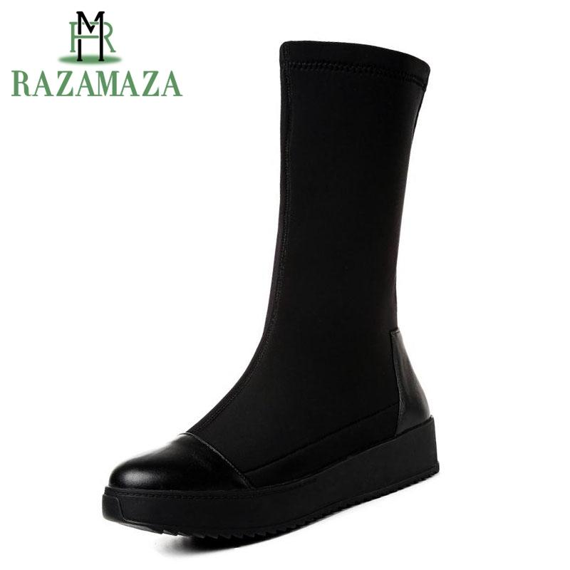 606d2b46fde Wholesale Leisure Women Mid Calf Boots Real Leather Stretch Wedge Boots  Shoes Autumn Winter Hidden Heel Trifle Boots Size 31 43 Leather Boots For  Women ...
