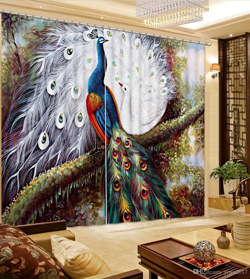 китайские плотные шторы настроить окно для гостиной роскошный Павлин стены сломанной современный занавес