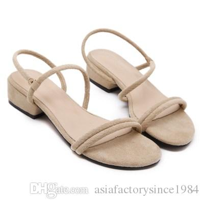 3988226742 2018 New Female Sandals Low Heeled Sandals Open Toed Suede Rough With Ankle  Strap Square Heel Sandals Mujer Knee High Gladiator Sandals Sandals For  Girls ...