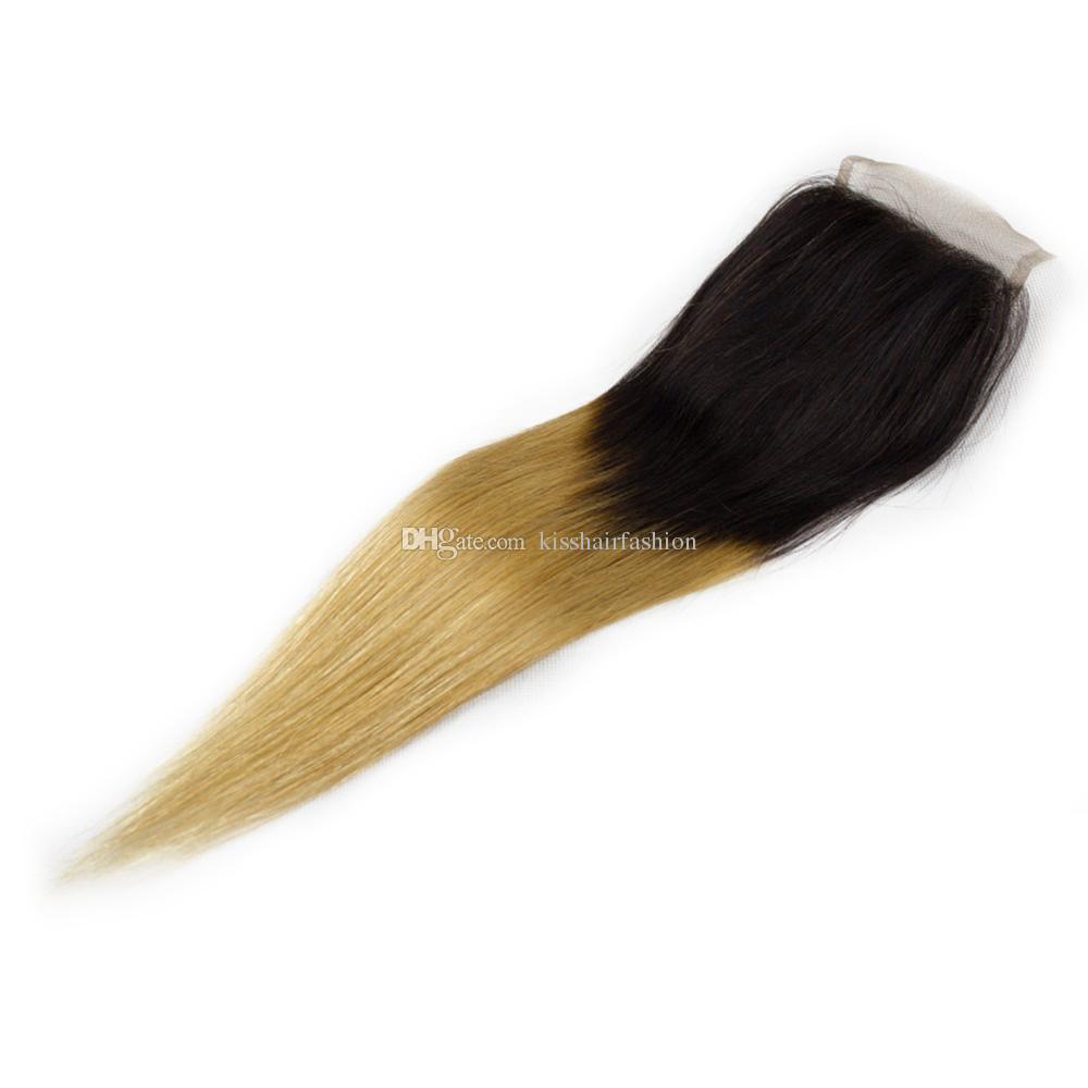 4x4 Spitze Schließung Ombre Farbe Menschliches Haar frei Mitte Drei Teil Verschluss gerade Körperwelle T 1b 27 Honig Blonde 8-20 Zoll