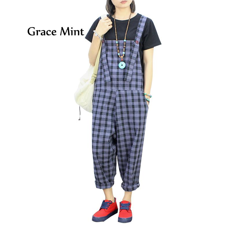 b56ad37f42 2019 Plaid Cotton Linen Jumpsuits Women Casual Drop Crotch Loose Wide Leg  Harem Overalls Jeans From Vikey06