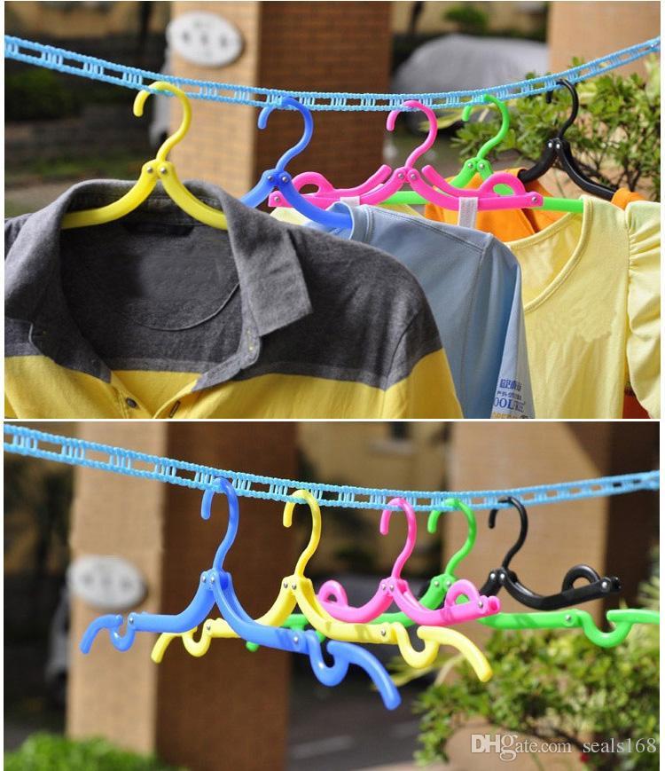 다기능 행거 공간 보호기 여행 휴대용 접는 옷걸이 랙 야외 옷 걸이 마법 플라스틱 Antiskid 랙 HH7-1103