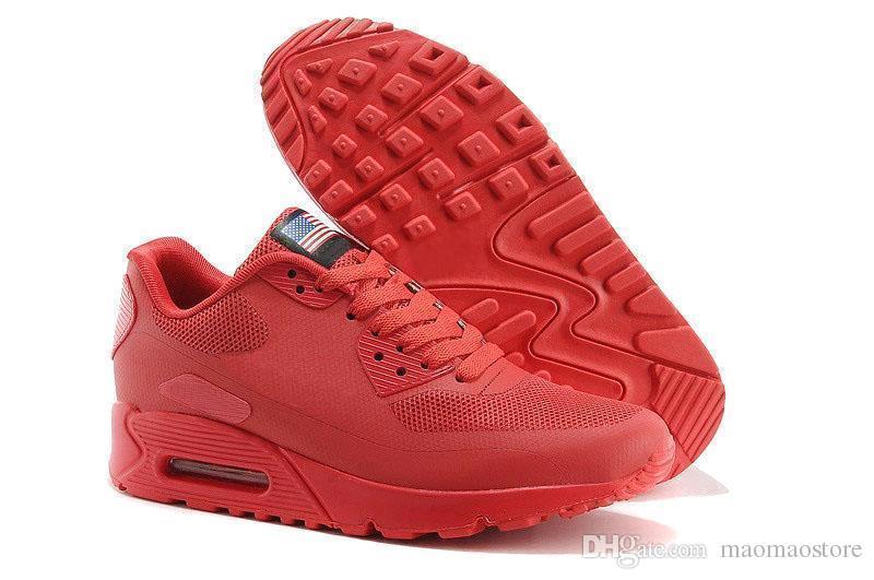 new style 16521 bf33e Compre Nike Air Max Airmax 90 Hombres Mujeres EE. UU. P BANDERA Americana  Zapatos Casuales Llavero Día De La Independencia Con Aircushion HYPs QS ...