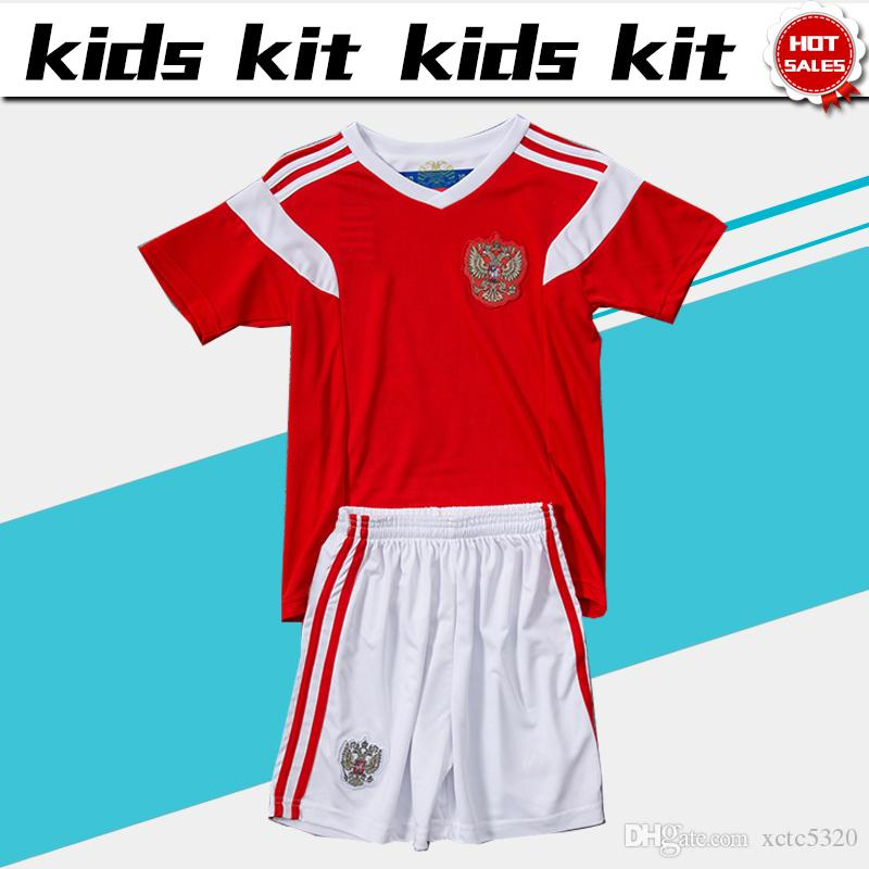 2fa7d243e 2019 2018 World Cup Russia Soccer Jersey Kids Kit 2018 Russian Home Red  Soccer Jerseys  9 DZAGOEV Child Soccer Shirts Uniform Jersey+Shorts From  Xctc5320