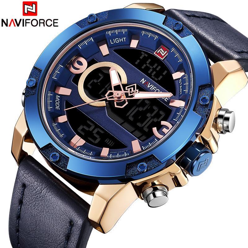 ce4541c7075 Compre Naviforce Nova Marca De Luxo Homens Relógio De Quartzo Dos Homens De Couro  Esporte Do Exército Relógios De Pulso Masculino Led Digital Relógio ...