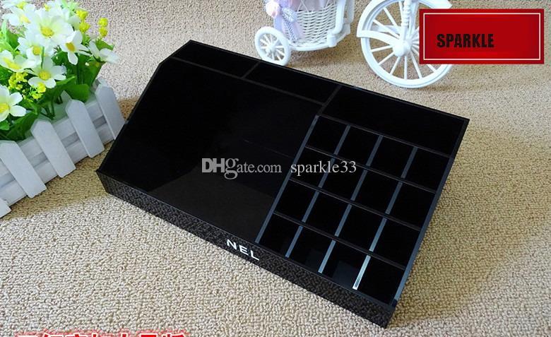 Luxury Black Acrylic Lady Multi-purpose Lipstick Box Make Up Desktop Jewelry CC Cosmetic Storage Box Display of Makeup Collection Box