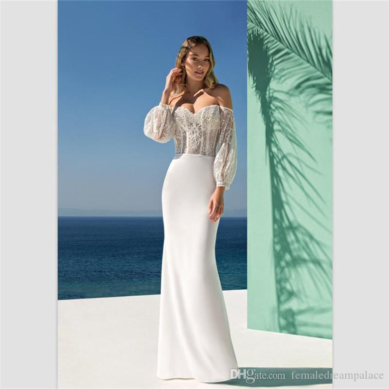 c50d21f43c 2018 Romantic White Chiffon Mermaid Wedding Dresses Custom Made Sexy  Sweetheart Lace Bridal Gowns Sweep Train 3 4 Sleeves Bridal Dresses Plus  Size Mermaid ...