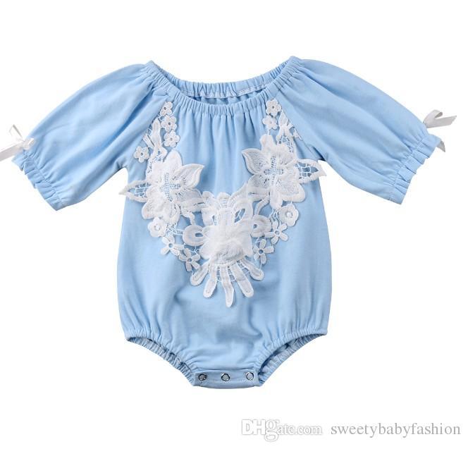 69480aa6c236 Newborn Infant Summer Cute Lace Baby Girls Middle Sleeve Romper Bodysuit  Sunsuit Palysuit Clothes Outfits KA788