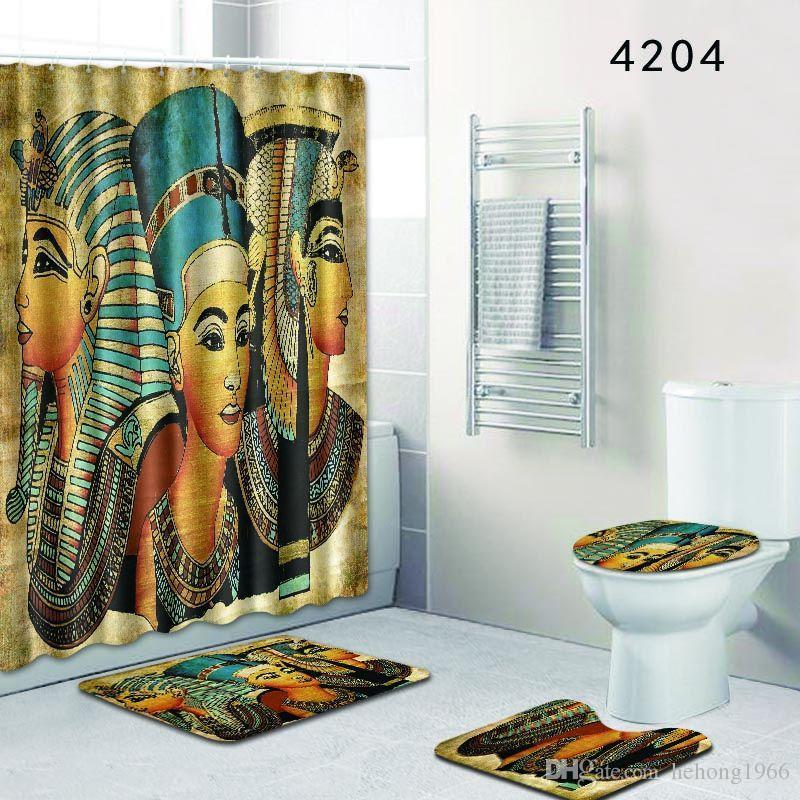 Mural Shower Curtain Bath Room Sets Toilet Closestool Carpet Bathroom Pads Door Mat Suit Eco Friendly Bardian 56dl KK UK 2019 From Hehong1966
