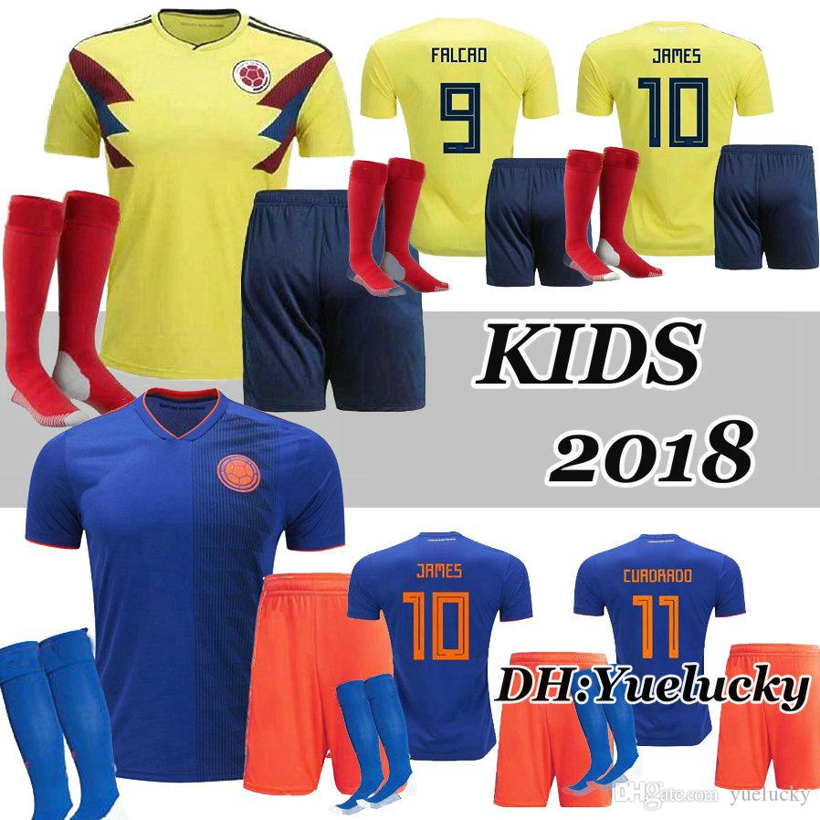 2018 Kids Kit Colombia Home Yellow World Cup Soccer Jerseys 18 19 ... 1963686bd