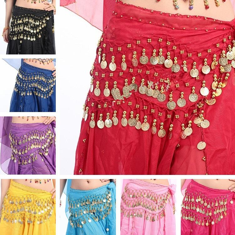 New Fashion Girls Belly Dance Costume 3row 98coin Belly Dance Waist Chain Child Belly Dancing Clothes Kids Stage Wear 120pcs/lot T2I332