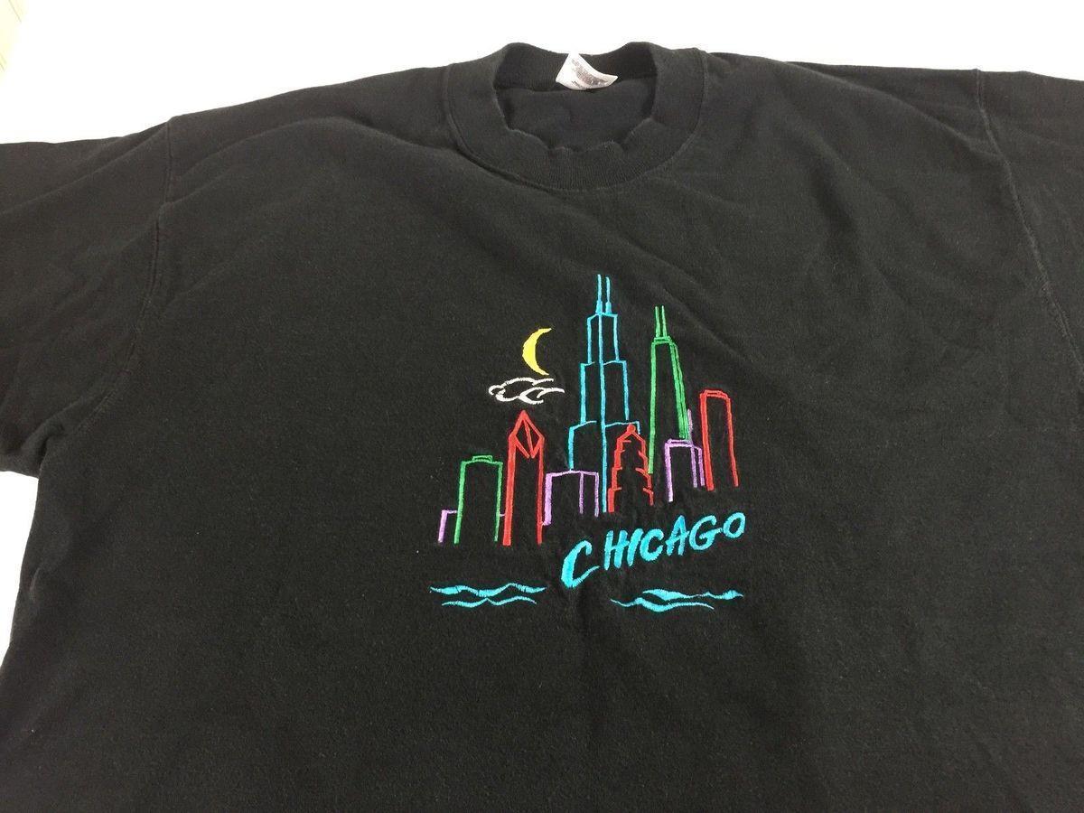 Chicago T Shirt Vtg 90s Mens Lxl City Buildings Skyline Usa Made