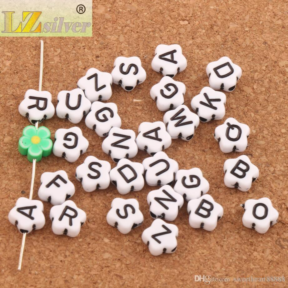 "9mm White Alphabet Letter ""A-z"" Flower Spacer Beads Acrylic Bead Jewelry DIY L3119 Loose Beads"