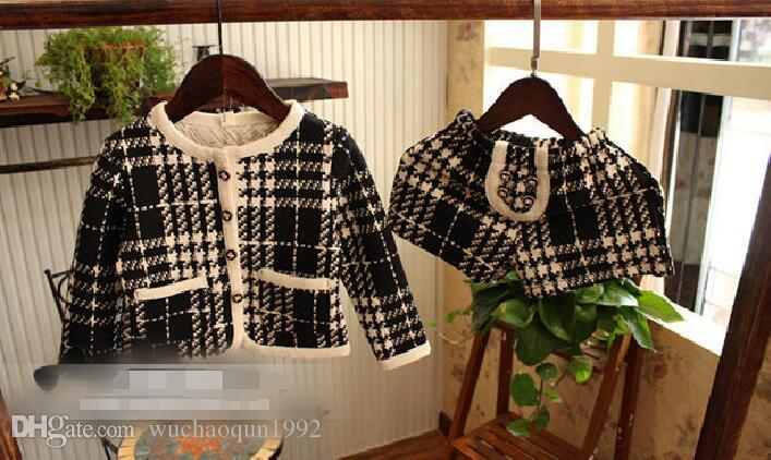 2018 hot sell autumn girl Houndstooth cardigan long sleeved jacket Shorts 2 piece suit for 2-7T