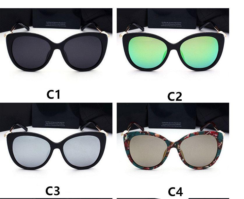 패션 진주 디자이너 선글라스 높은 품질 브랜드 편광 렌즈 태양 안경 안경 여성 안경 프레임 5 색 2039