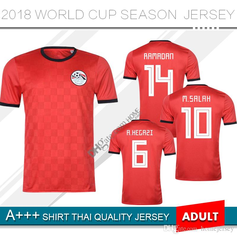 6f43fd45bc1 2018 Egypt soccer jersey M. SALAH world cup Home Red 18 19 KAHRABA A.  HEGAZI RAMADAN national team uniforms jerseys footbal shirts