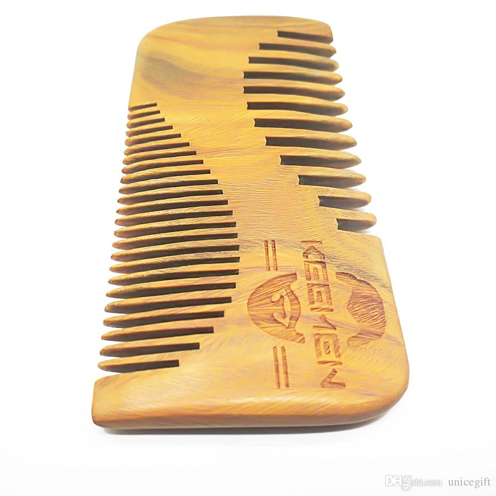 Your LOGO Customized New S-Shaped Coars & Fine Tooth Green Sandalwood Beard Combs Hair Combs with Gift Box & Bag for Gentleman