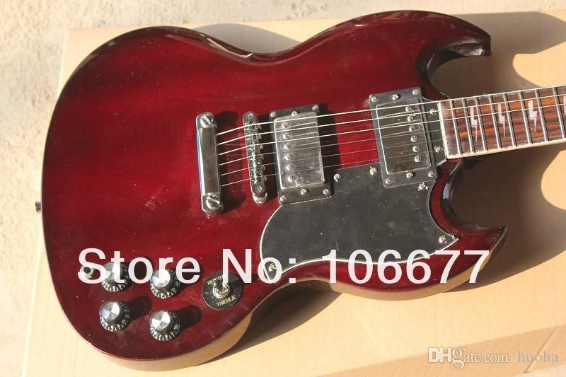 Alta Qualidade, Double Cut Way, SG Padrão em Vermelho Escuro Guitarra Elétrica 2 Pickups Frete Grátis