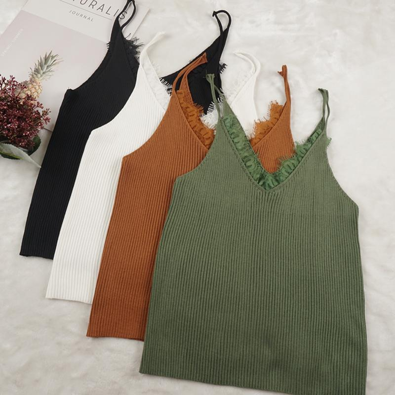 040f09ede444b 2019 Lace Knitted Tank Tops Female Sexy V Neck Vest Plus Size Solid Club Tops  Women Black Beige T Shirt Cotton Polyester Tank Top From Blueberry13