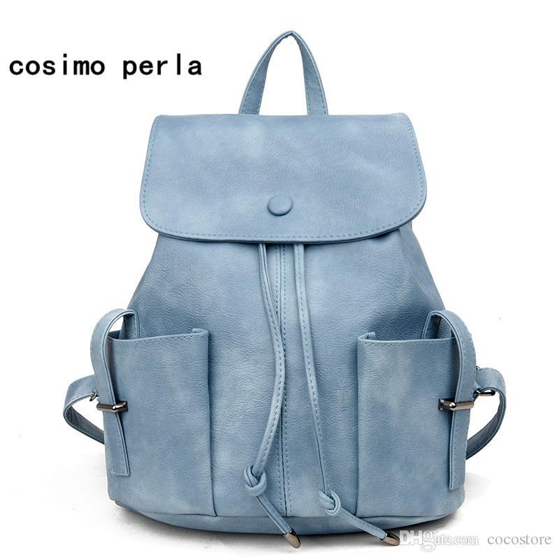 Korean New Women Backpacks for Teenage Girls Drawstring Travel Shoulder Bags  PU Leather Fashion Causal Designer Bagpack Simple Mochilas Gift Women  Leather ... 291f470594ce8