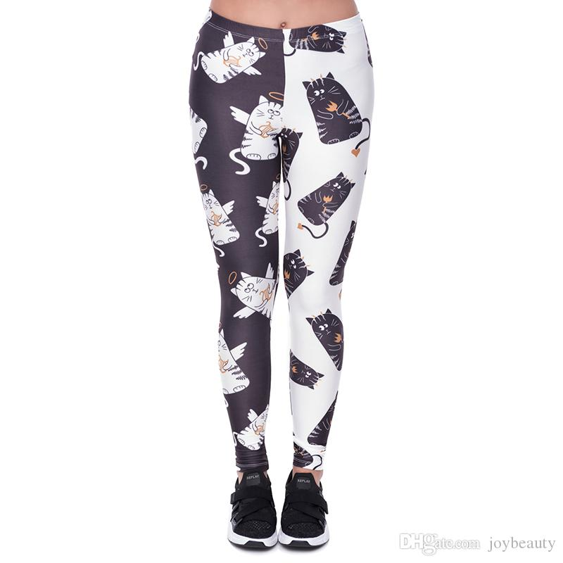 6b8bab32bd28e 2019 Lady Leggings Angel And Devil Cats 3D Print Women Stretchy Tight Capris  Soft Pants Yoga Girls Workout Full Length Trousers YX43207 From Joybeauty,  ...