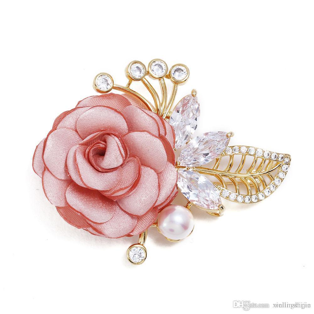 Copper Crystal Pearl Zircon Fabric Brooch Fashion Woman Elegant Rose ...