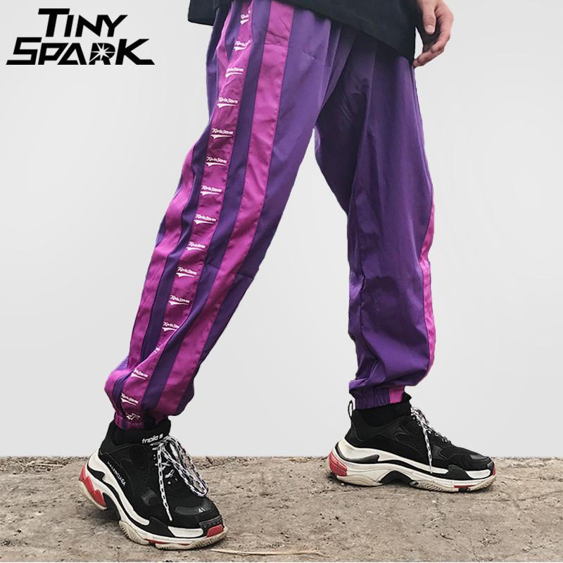 7e04853244b23 Compre Lado Ancho Pantalones De Raya Jogger Hombres Harajuku Pantalones De  Chándal Moda Pantalones Casuales Hip Hop Pantalones Streetwear Pista 2018  Verano ...