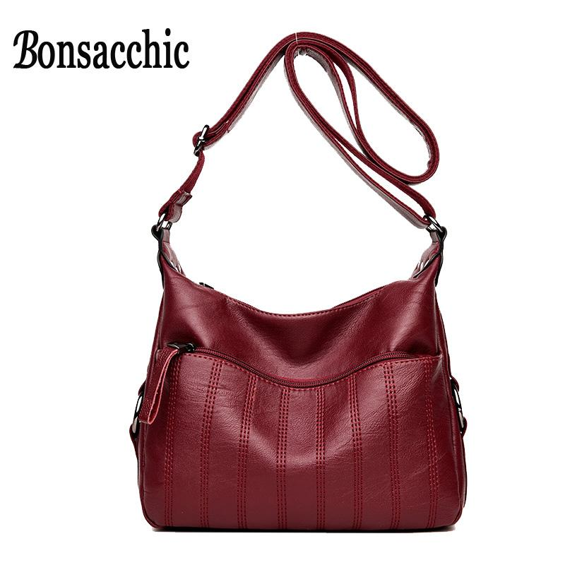 540a5d966fd5 Bonsacchic Soft PU Leather Bag Women Messenger Hobo Bag Purse Red Small  Handbag Ladies Shoulder Crossbody For Women 2018 Cheap Handbags Cheap  Purses From ...