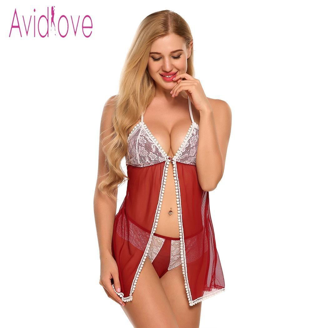96b8522bb469 Avidlove Lencería Sexy Ropa Interior Erótica Caliente ropa de Dormir  Vestido de Babydoll Frente Abierto y Tanga Conjunto de Encaje Escarpada  Ropa ...