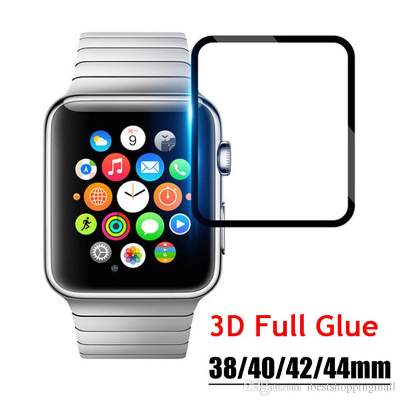3D Curved Full Glue Tempered Glass For Apple Watch iwatch 1/2/3/4 38mm 42mm 40mm 44mm Black Screen Protector Film With Retail Package