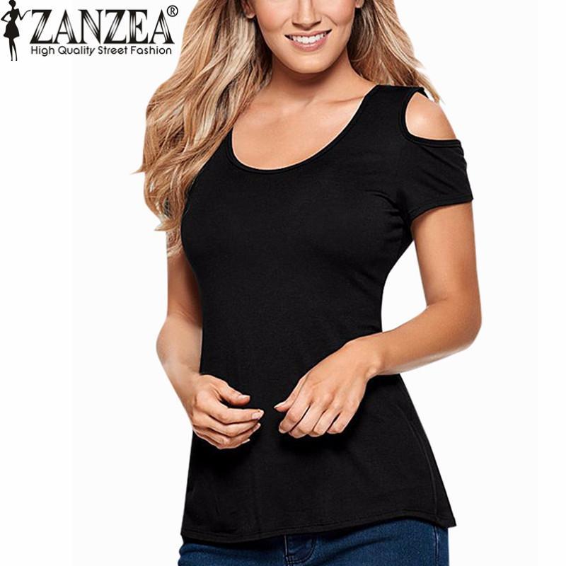ZANZEA 2017 Yaz Blusas Seksi Kadınlar Bluzlar Dantel Tığ Kısa Kollu Backless Kapalı Omuz Bölünmüş Bluz Gömlek Tops Artı Boyutu