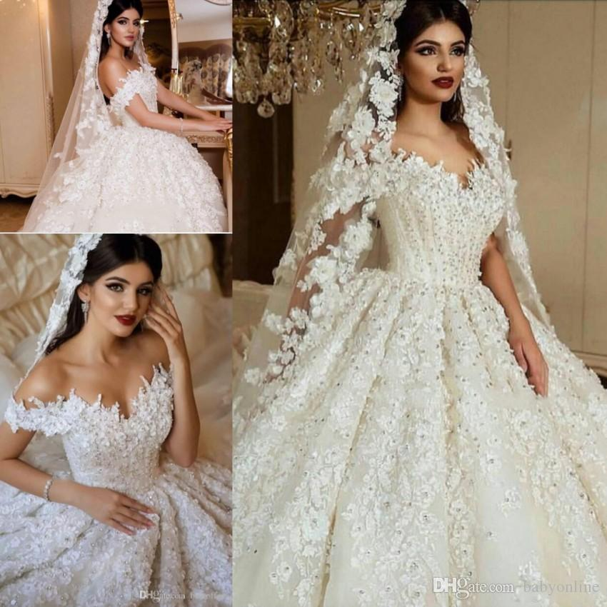 Stunning Luxury 3D Lace Appliques Beads Sequins Wedding Dresses Formal Saudi Arabic Dubai Ball Gown Off Shoulder Vestidos Bridal Gowns