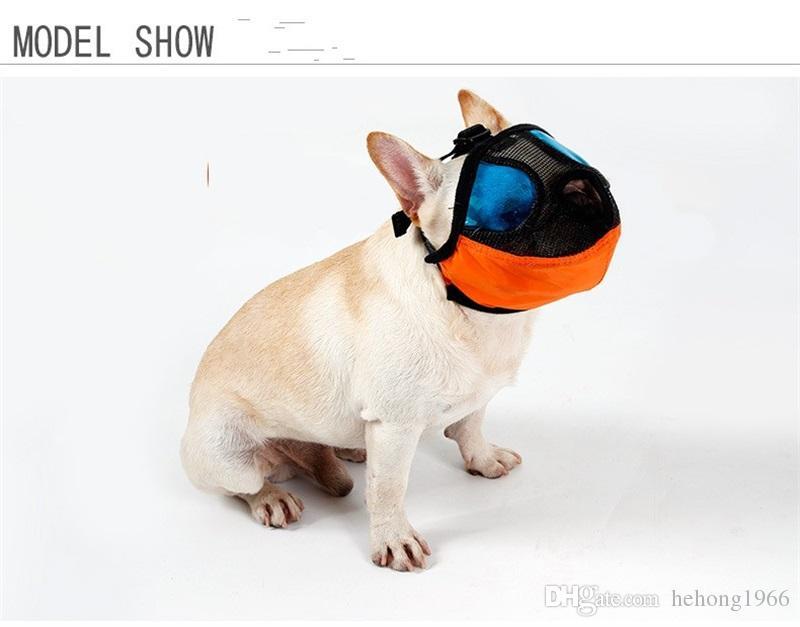 Wasserdichte Nylongewebe-Haustier-Mund-gesetzte flache Gesicht-kurze Mund-Haustier-spezielle Absichtsatemmaske PVC-Netz-Art- und Weisehunde-Gazemasken 25dm Y