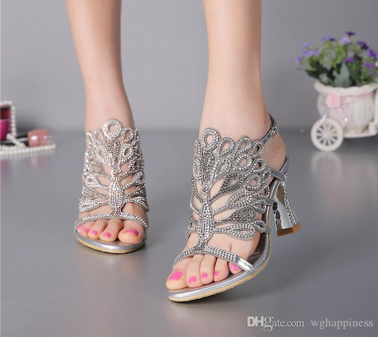 91c82734dd72 Summer New Sandals Chunky Heel Floral Silver Wedding Dress Shoes Rhinestone  Luxurious Genuine Leather Prom Party High Heels Bridal Shoes Lace Bridal  Shoes ...