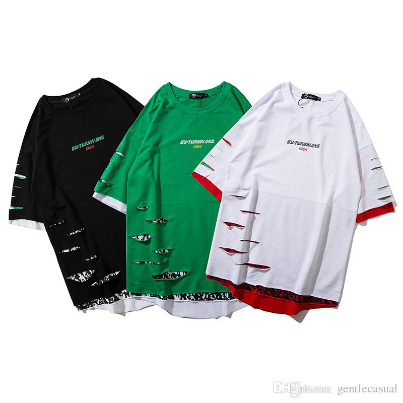 a4922168711f2 Summer Spring Mens Fake Two Pieces Short Sleeve Tshirt Racing Car Printed  Holes Hip Hop Tees For Men And Women Lovers Couples Dress Shirt Site  Printing Of T ...