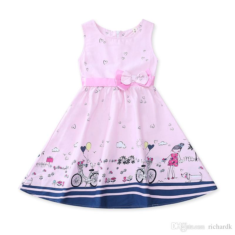Hot Sale Girls Dresses Summer Clothes Cute Cartoon Print Cotton Sleeveless Children Infant Dress For Girls