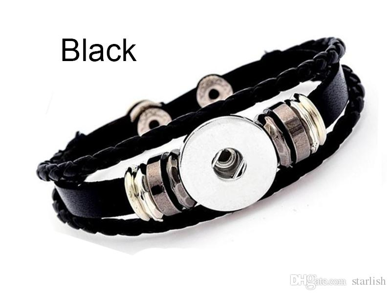 LMBB Brand Mix 18MM & 20MM Real leather snap bracelet fit noosa chunks button charm
