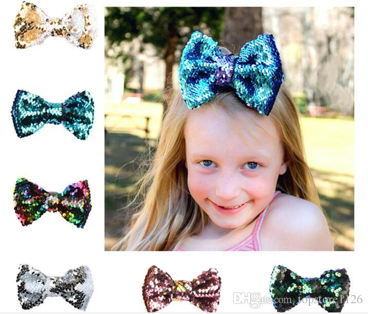 New Fashion Cute Baby Sequin Bow Hair Clip Pretty Barrettes Hair Accessories Kids Gifts Free Shipping