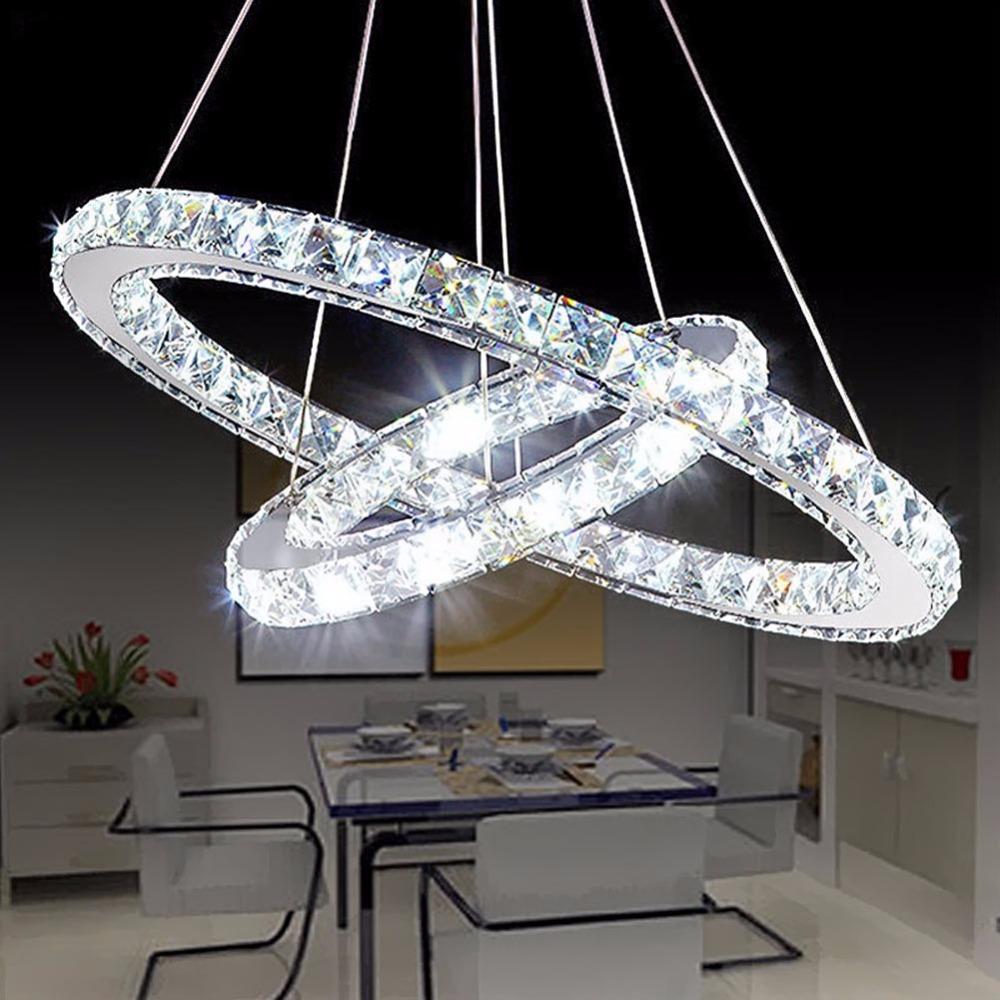 Esszimmer Beleuchtung Dekoration | Grosshandel Beliebte Diamant Ring Led Kristall Pendelleuchte Moderne