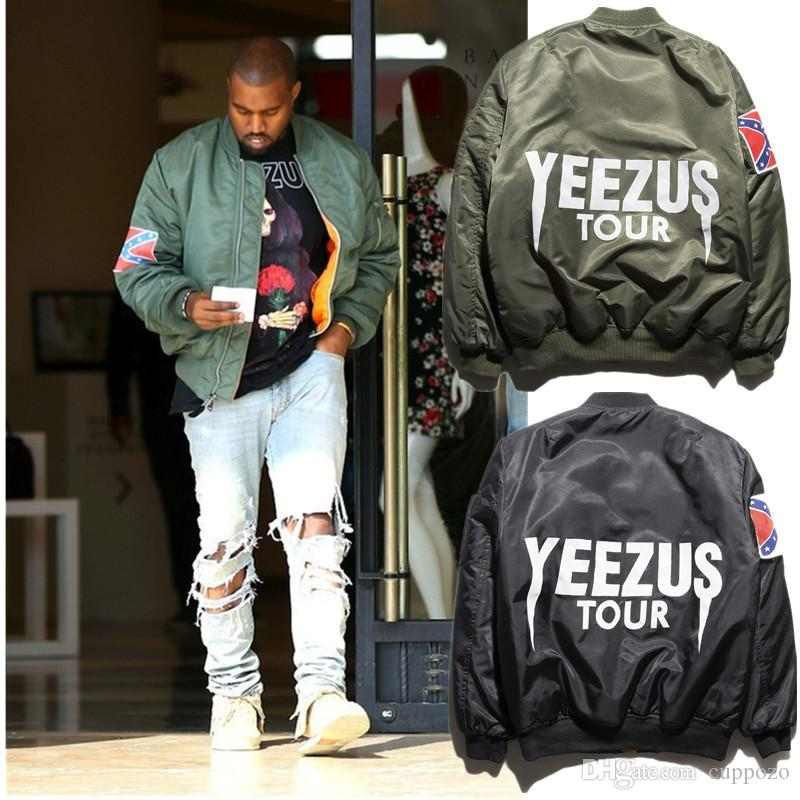 a75d4c95a6a3c KANYE WEST YEEZUS Jacket High qualitu Men's Printing green Hip Hop Winter  Outerwear Military motorcycle Air men bomber jacket Plus Size 2XL