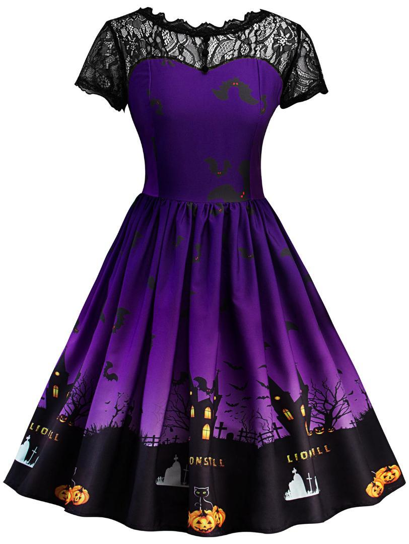 4954034c6 Wipalo Pumpkin Print Halloween Dress Mujeres Mesh Lace Vintage Dress Retro  50s Swing Rockabilly Vestidos fiesta Feminino Vestidos