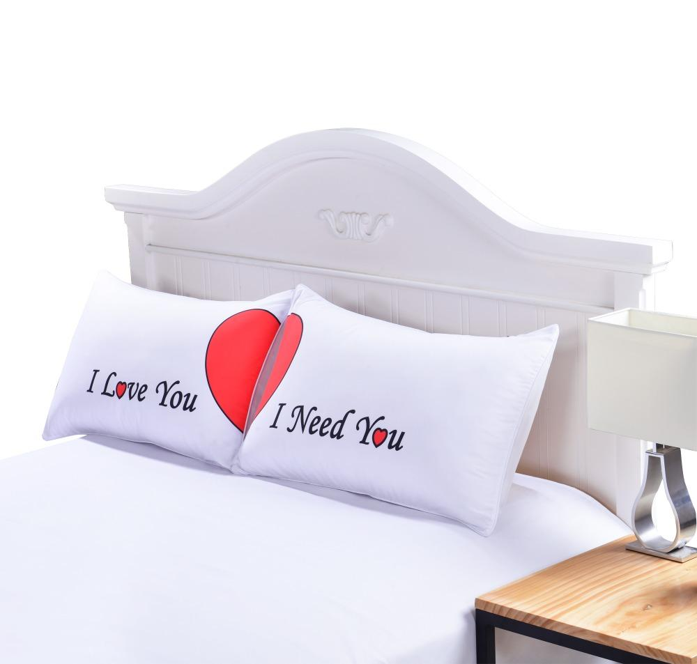 Set Of 2 Love Cute Pillow Cases Red Heart Together Pillowcase Super Soft Pillow Cover For Wedding Valentine 'S Gift
