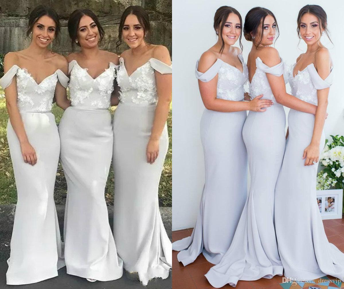 811cae6d81df Elegant Mermaid Bridesmaid Dresses For Summer Garden Country Weddings  Elegant Off Shoulder Appliqued Long Wedding Guest Dress Custom Made Long  Dresses ...
